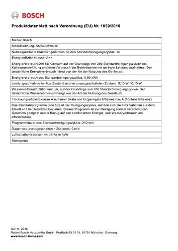 Bosch SMS46MW03E Serie 4 Geschirrspüler A++ / 266 kWh/Jahr / 2660 L/Jahr / Startzeitvorwahl - 8