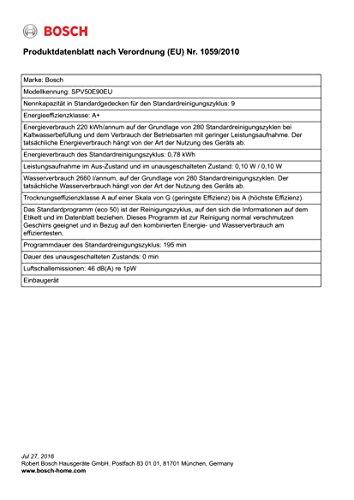 Bosch SPV50E90EU Serie 4 Geschirrspüler Vollintegriert - 3
