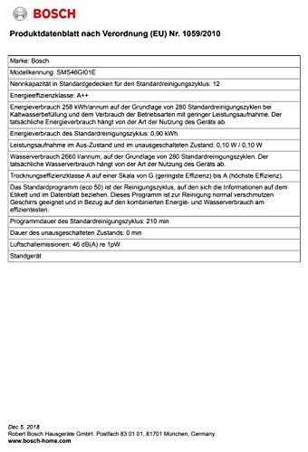 Bosch SMS46GI01E Geschirrspüler Freistehend/A++/258 kWh/Jahr /2660 L/jahr/DosierAssistent - 7