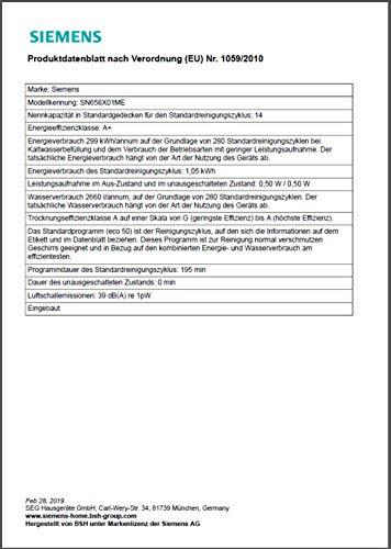 Siemens SN658X01ME Geschirrspüler Vollintegriert/A+ / 299 kWh/Jahr / 2660 L/jahr/Dosier-Assistent; Wärmetäuscher; dreiteliges Filtersystem; TimeLight - 2