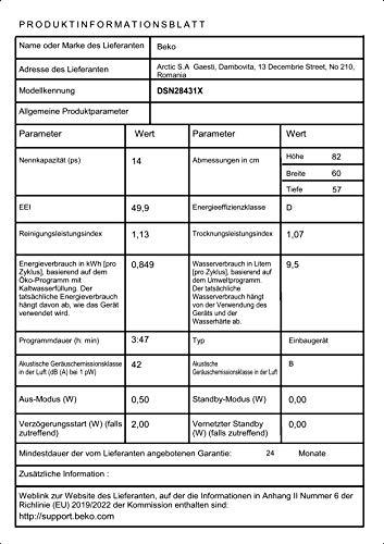 Beko DSN28431X Geschirrspüler Teilintegriert / A+++ / 237 kWh/Jahr / 2660 l/Jahr / AquaIntense - 11