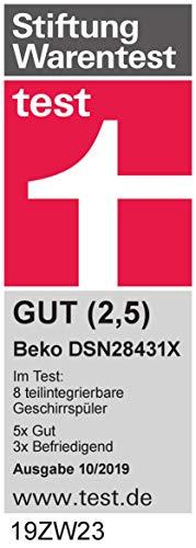 Beko DSN28431X Geschirrspüler Teilintegriert / A+++ / 237 kWh/Jahr / 2660 l/Jahr / AquaIntense - 9